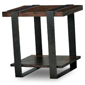 Rustic End Table with Thick Metal Legs