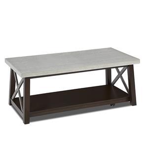 Cocktail Table with Concrete Top and X Design Motif
