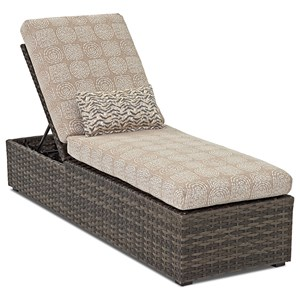 Outdoor Adjustable Chaise Lounge with Drainable Cushion