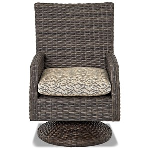 Swivel Rock Patio Dining Chair with Reversible Cushion