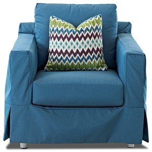 Outdoor Slipcovered Chair with Reversible Cushion