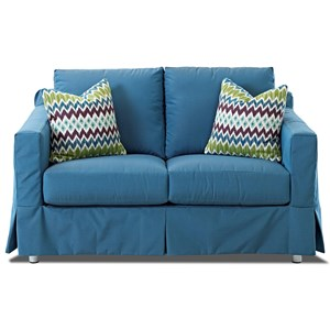 Outdoor Slipcovered Loveseat with Reversible Cushions