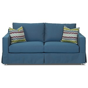 "Outdoor Slipcovered 77"" Sofa with Reversible Cushions"