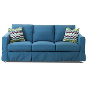 "Outdoor Slipcovered 84"" Sofa with Drainable Cushions"