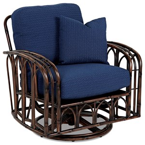 Outdoor Swivel Glider Chair with Reversible Cushions