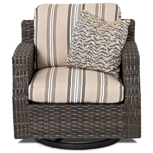 Outdoor Swivel Glider Chair with Track Arms and Drainable Cushion