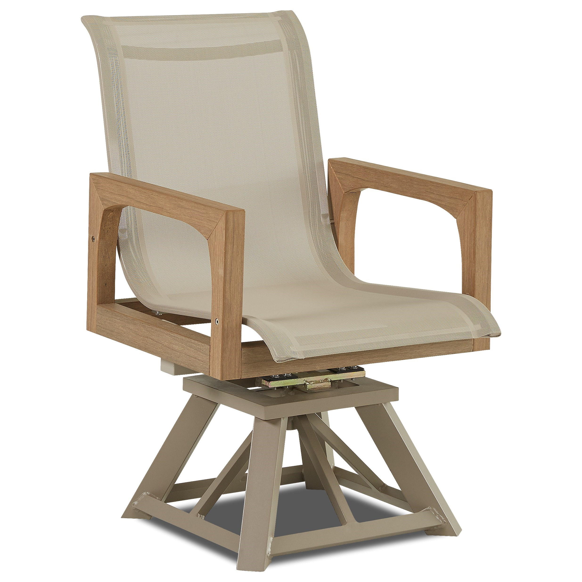 Delray Swivel Rocker Dining Chair by Klaussner Outdoor at Nassau Furniture and Mattress