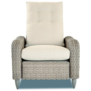 Casual Outdoor Push Back Recliner with with Drainable Cushions and Tufted Back