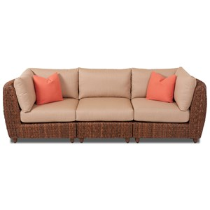 Three Piece Woven Wicker Outdoor Sectional Sofa with Drainable Cushions