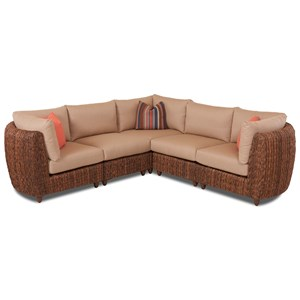 Three Piece Woven Wicker Sectional Sofa with Reversible Cushions