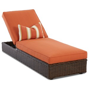 Outdoor Wicker Chaise Lounge with Reversible Cushions