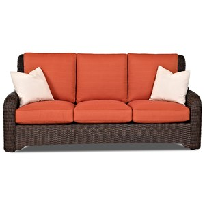 Outdoor Wicker Sofa with Drainable Cushions