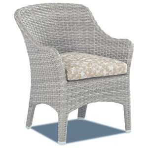 Set of Two Outdoor Dining Room Chairs with Drainable Cushions