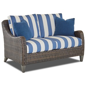 Outdoor Loveseat with Drainable Cushion