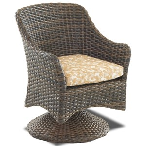 Outdoor Swivel Rock Dining Chair with Reversible Cushion