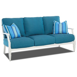 Cottage Outdoor Sofa with Lattice Back and Drainable Cushions
