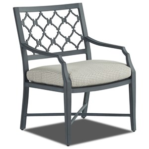 Outdoor Dining Arm Chair with Reversible Cushion