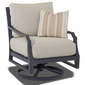 Outdoor Swivel Rock Chair with Drainable Cushions