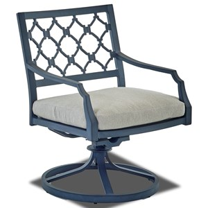 Outdoor Swivel Rock Dining Chair with Drain Cushion