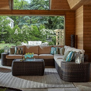 Cava Five Seat Outdoor Sectional with Recliner and Reversible Cushions