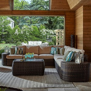 Cava Five Seat Outdoor Sectional with Recliner and Drainable Cushions