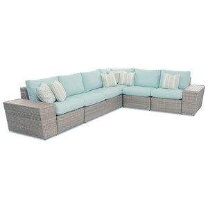 Gita 5 Seat Sectional with Storage Table, 2 Recliners, Reversible Cushions