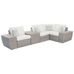 Rosa 3 Seat Outdoor Sectional with Storage Table, 1 Recliner, Reversible Cushions