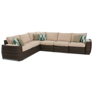 Ziva Five Seat Outdoor Sectional with Two Recliners and Drainable Cushions
