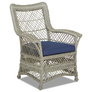 Outdoor Dining Arm Chair with Drainable Cushion