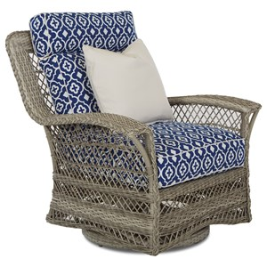Outdoor Swivel Glide Chair with Drainable Cushion
