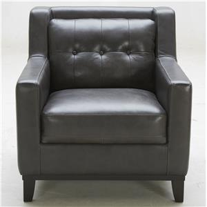 Leather Match Chair with Tufted Back