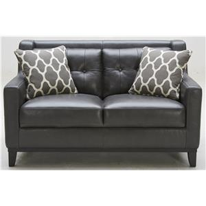 Leather Match Loveseat with Tufted Back