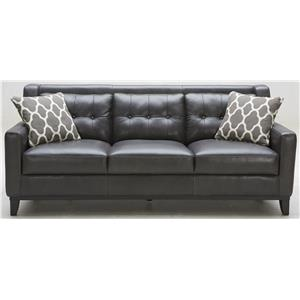 Leather Match Sofa with Tufted Back