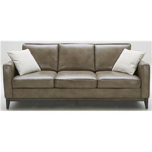 Contemporary Leather Match Sofa with Track Arms