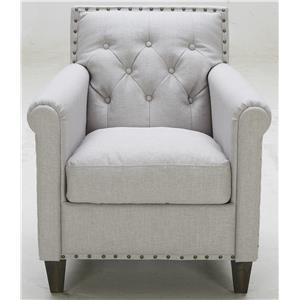 Transitional Tufted Chair with Rolled Arms and Nailhead Trim