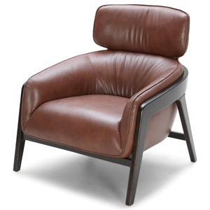 Mid Century Modern Leather Chair with Exposed Wood