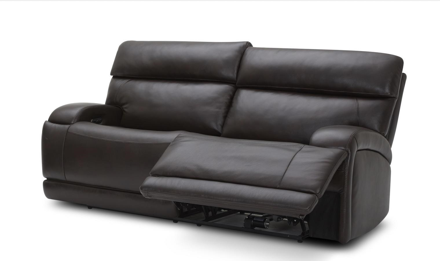 Akron TRIPLE Power Reclining Leather Sofa by K.C. at Walker's Furniture