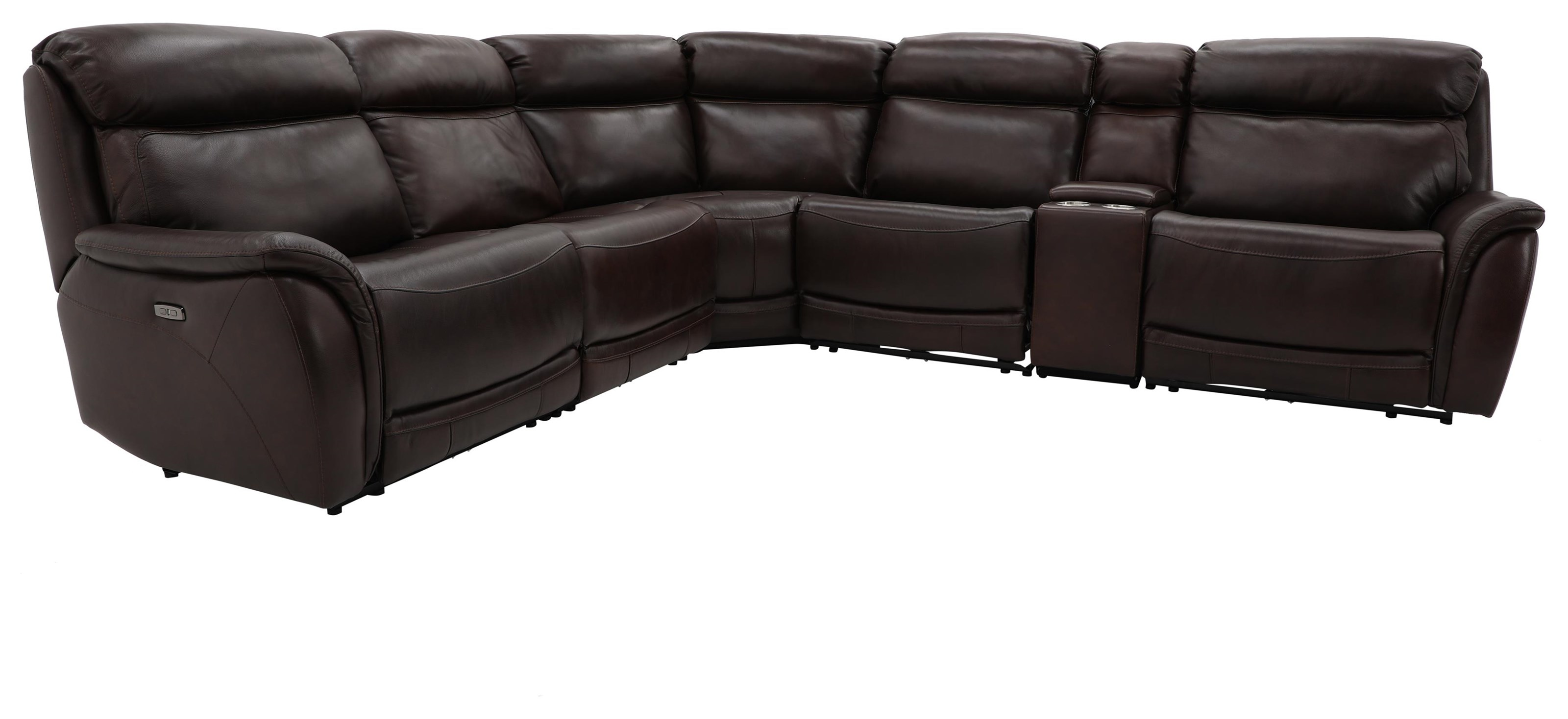 Jaxson LEATHER RECLINING SECTIONAL W/ PWR HEADRESTS by K.C. at Walker's Furniture