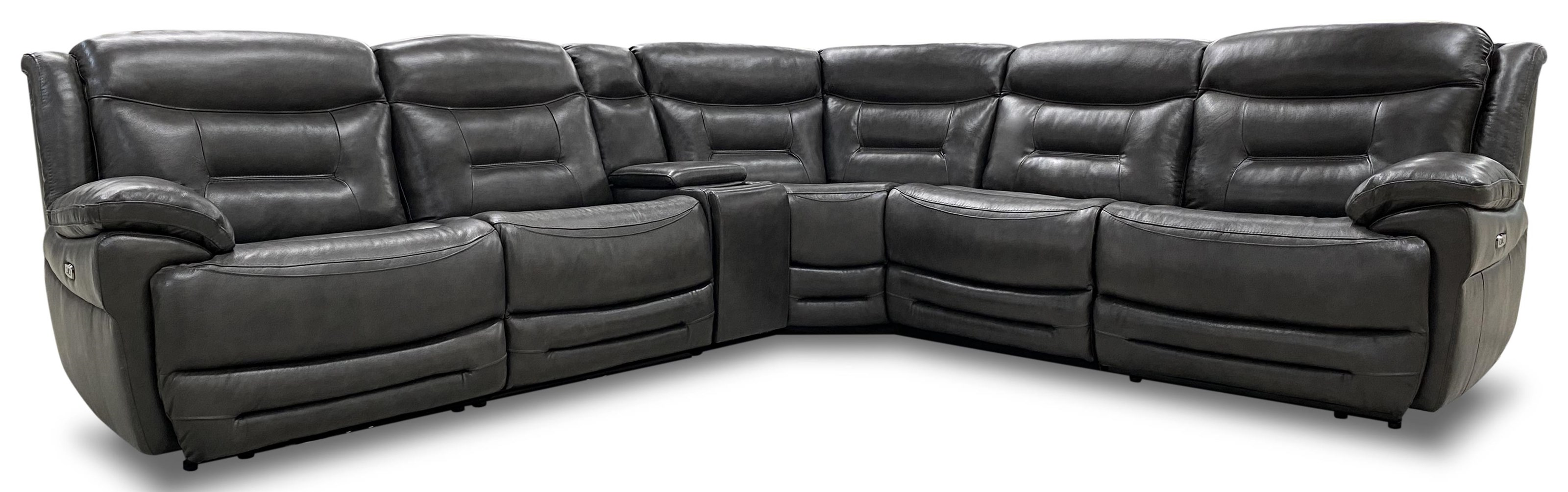JUDE LEATHER RECLINING SECTIONAL W/ PWR HEADRESTS by K.C. at Walker's Furniture