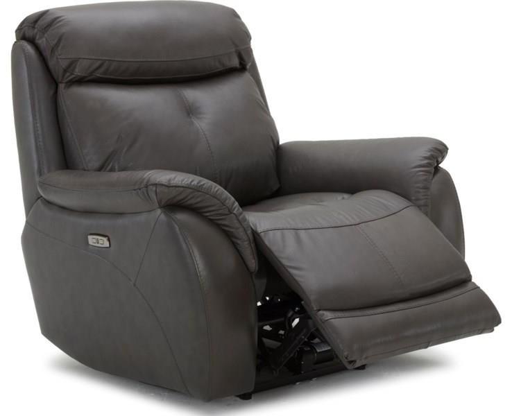 Largos Power Leather Recliner w/ Power Headrest by K.C. at Walker's Furniture