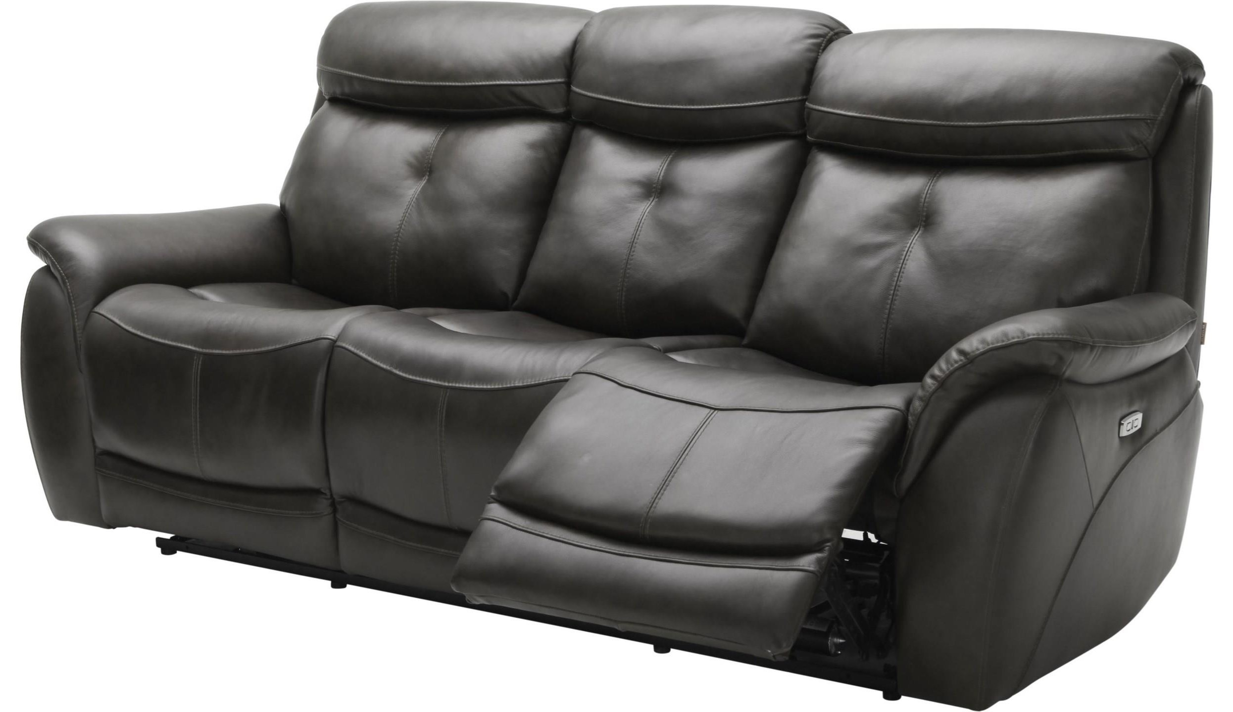 Largos  PWR Reclining Leather Sofa w/ PWR Headrest by K.C. at Walker's Furniture