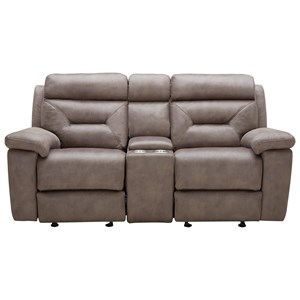Casual Power Gliding Reclining Loveseat with Cupholder Storage Console