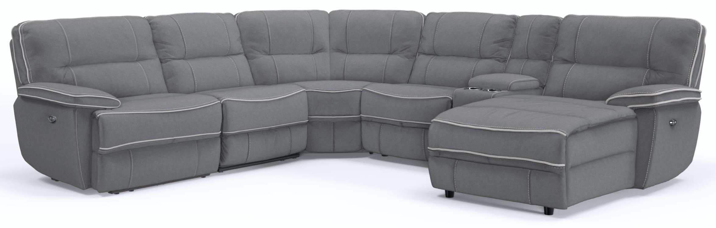 KM019 6 Pc Pwr Reclining Sectional Sofa by Kuka Home at Beck's Furniture