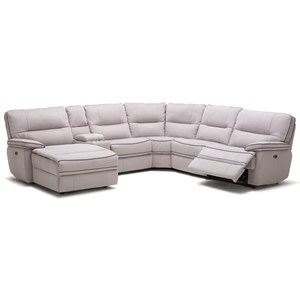 Six Piece Power Reclining Sectional Sofa with Cupholder Storage Console