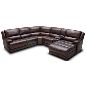 Six Piece Power Reclining Sectional Sofa with Cupholder Storage Console and USB Ports