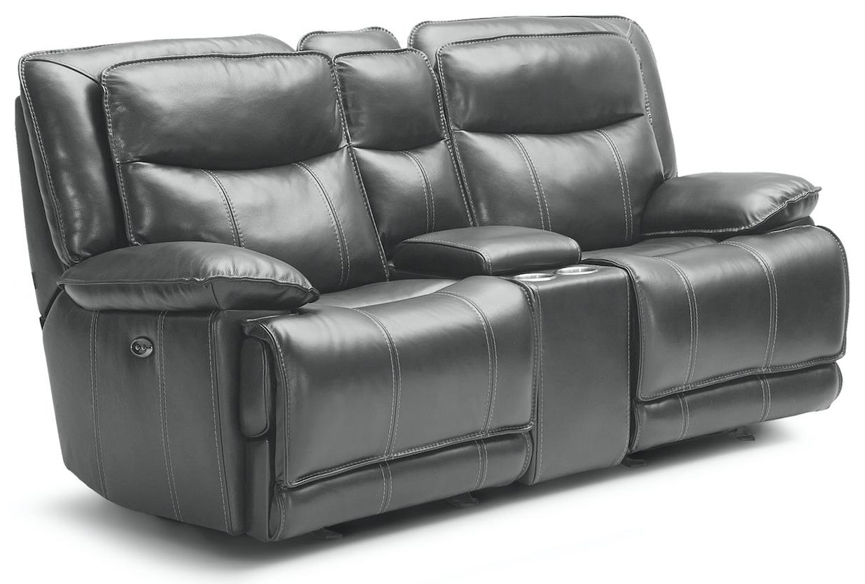 KM030 Reclining Pwr Loveseat w/ Console by Kuka Home at Beck's Furniture
