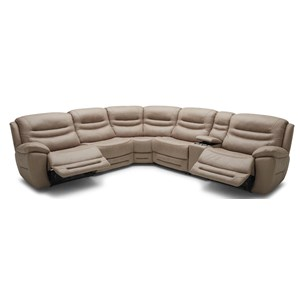 Six Piece Power Console Reclining Sectional Sofa with 3 Recliners and Power Headrests
