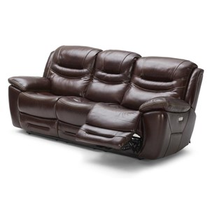 Casual Power Reclining Sofa with Power Headrests and USB Ports