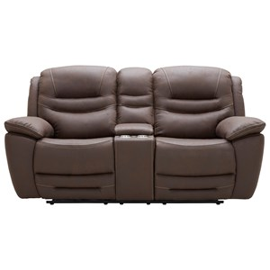 Casual Power Reclining Glider Loveseat with Cupholder Storage Console and Power Headrests