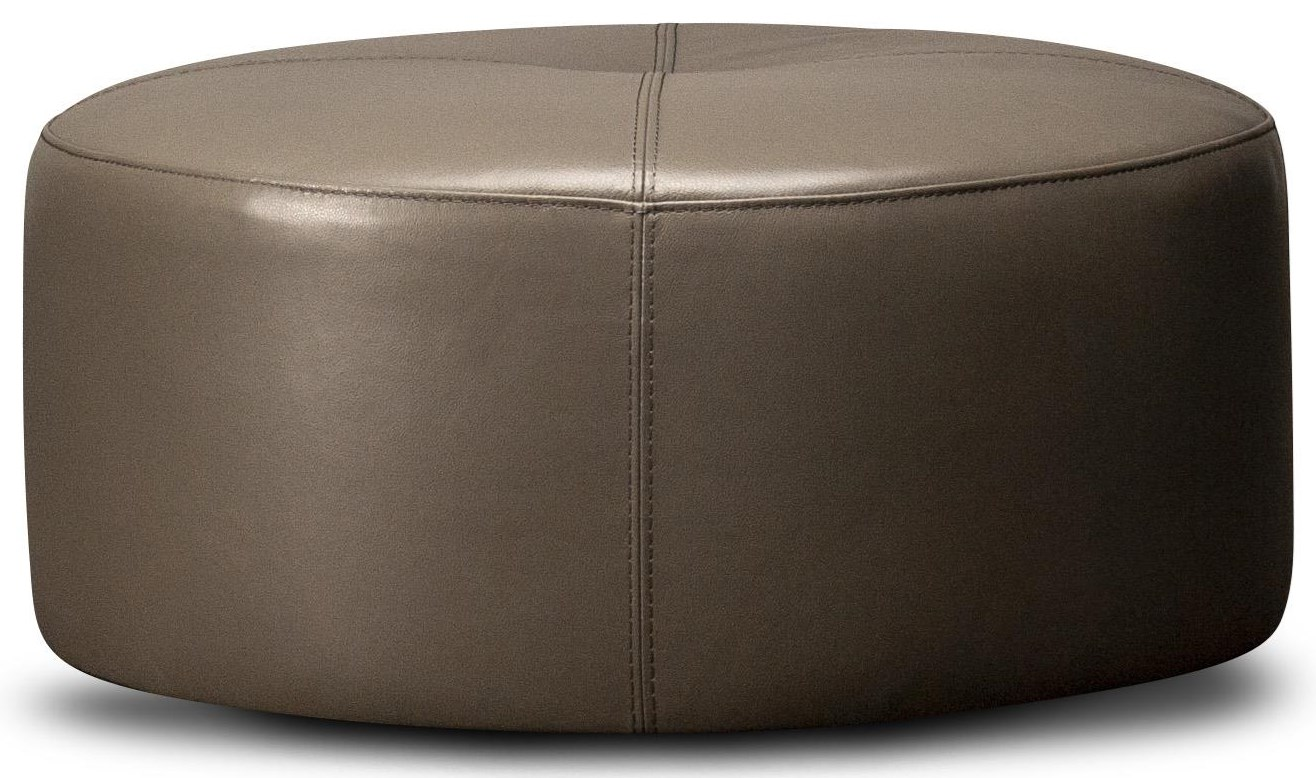 Laramie Leather Round Cocktail Ottoman by Kuka Home at Morris Home